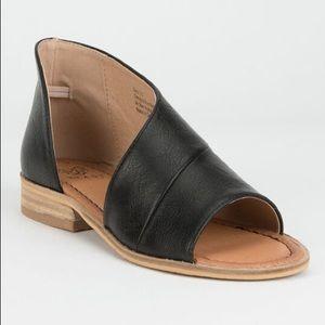Beast Fashion Lotus Black Open Toe D' Orsay Flats
